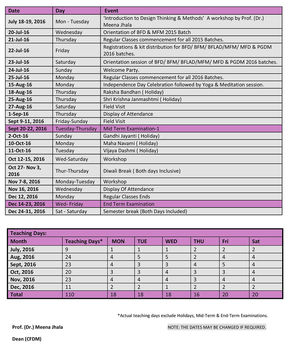 Academic Calendar 2019 2016 Mody University | Admin